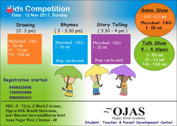 Ojas Happy Bird Academy Kids Competition in Porur, chennai