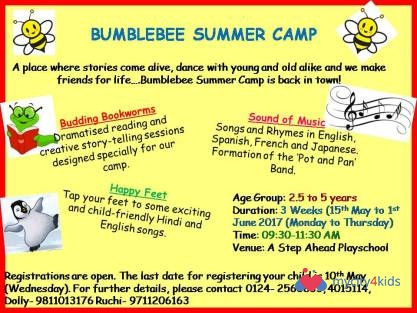 Summer Camp 2017 in DLF Phase II, Delhi-NCR between 15-May-2017 and